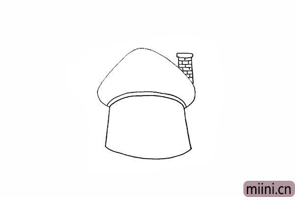 6.再用一块一块的砖头装饰一下烟囱。