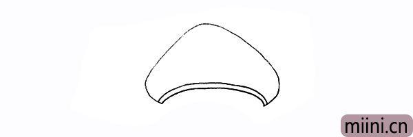 2.接着用两条曲线画出蘑菇顶的边缘。