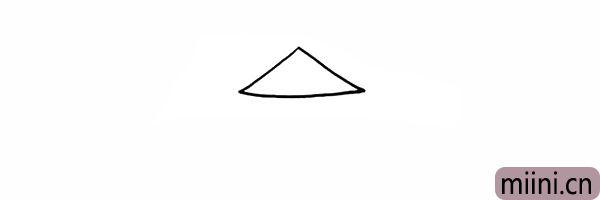 1.首先画出稻草人的三角形帽子。
