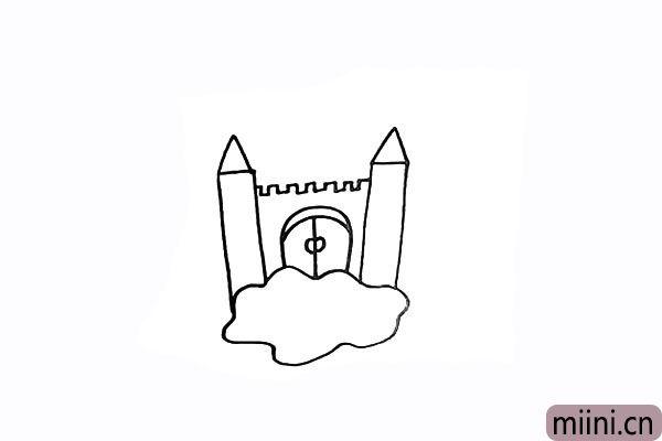 4.在门的两侧画出两座高高的城柱。