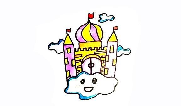 空中城堡简笔画步骤教程