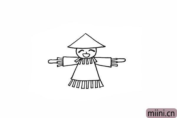 10.在衣服下方画出长条状的稻草。
