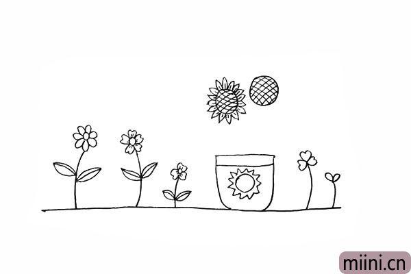 13.接着我们画出向日葵的花瓣。