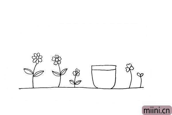 9.在中间画出一个花盆以及花盆的边缘。