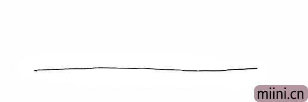 1.首先我们先画一条横线作为地平线。