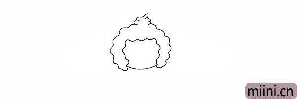 4.在头顶部画出懒羊羊便便状的毛发。