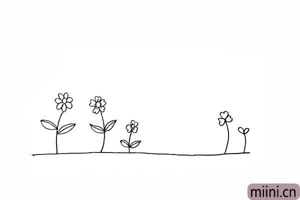 8.在右侧画出两颗四叶草作为装饰。