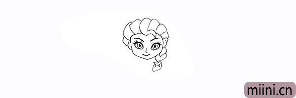 11.同样画出艾莎编织的马尾部分。