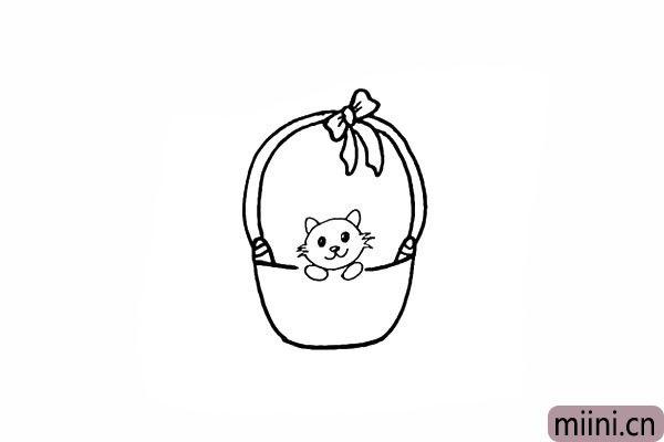 10.在篮子的边缘画出小猫的手臂。