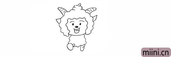 15.接着画出懒羊羊的另一条腿部。