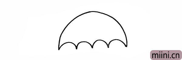 2.向上勾勒出雨伞的形状。