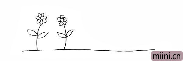 5.我们画出第二朵不同的花朵。
