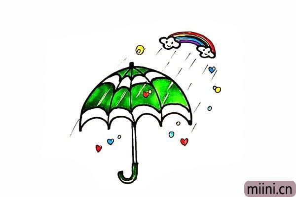 12.最后我们把雨伞涂上漂亮的颜色把。