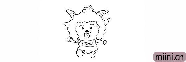 17.然后在胸前画出懒羊羊的围兜。