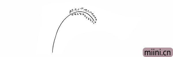 2.在杆的两侧我们画出狗尾草的绒毛。