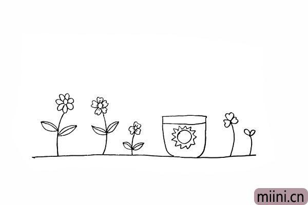 10.画一个小太阳装饰一下花盆。
