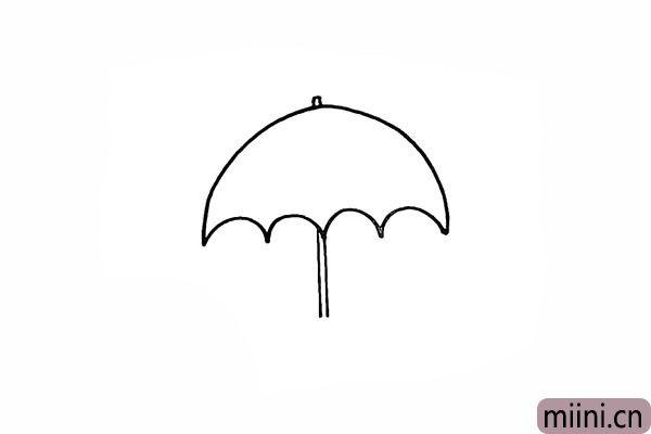 4.向下画出细长的雨伞伞杆。