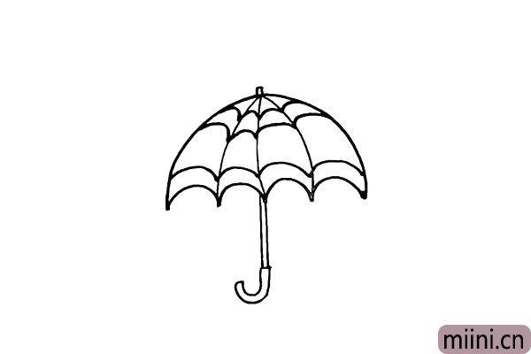 6.用线条勾勒出雨伞的花纹部分。