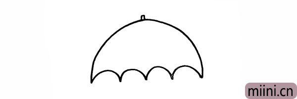 3.在顶部画出雨伞的伞尖。