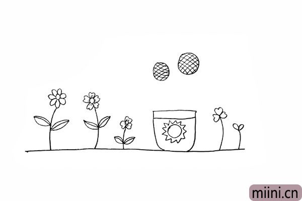 12.我们用交叉线画出向日葵的花蕊。