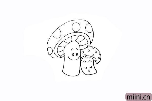 14.用圆圈画出小蘑菇头上的花纹。