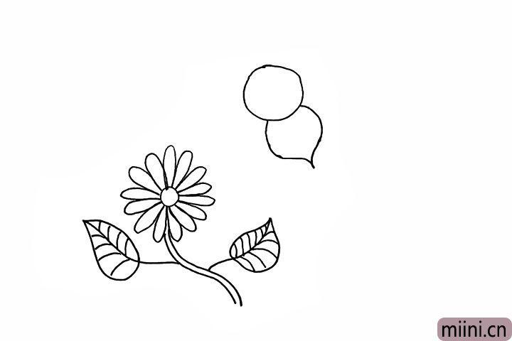 6.连接头部画出蜜蜂锥型的身体。