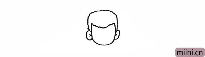 5.在另一侧画出它的另一只耳朵。