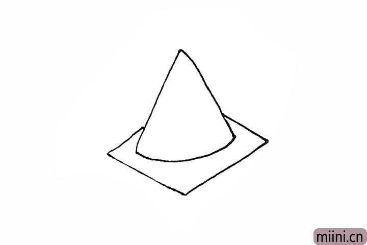 2.然后两侧画出去两条斜线,再用斜线连接起来。
