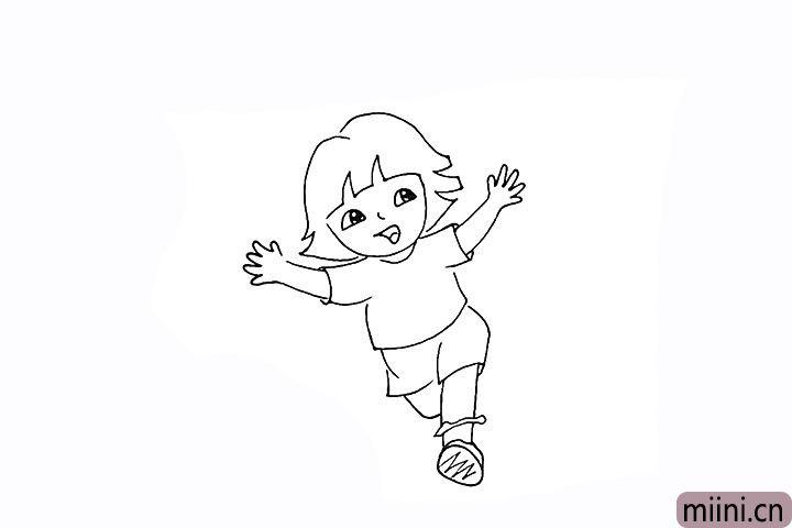 18.再向后画出另一条奔跑着的腿。