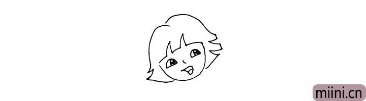 6.画出多拉漂亮整齐的短发。