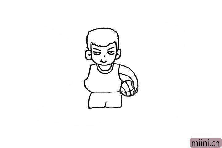11.我们在手臂处画上一个篮球。