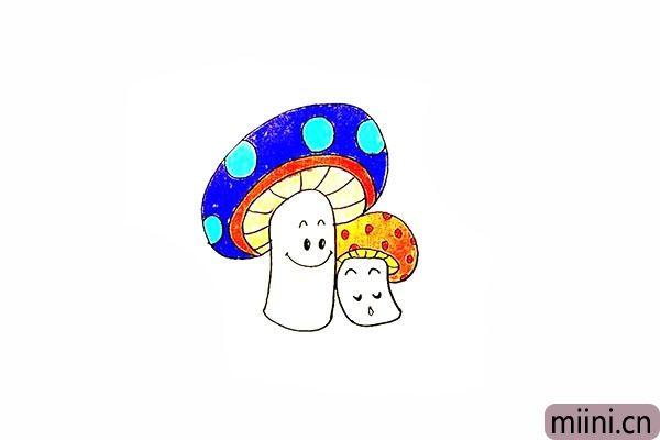 15.最后就可以给可爱的蘑菇涂上漂亮的颜色了。