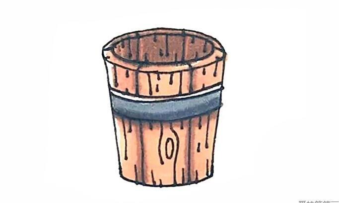 洗澡用的木桶简笔画步骤