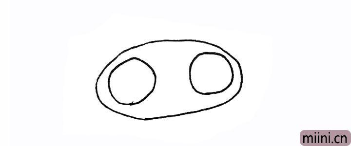 1.先画上有个椭圆形,里面画上两个圆。
