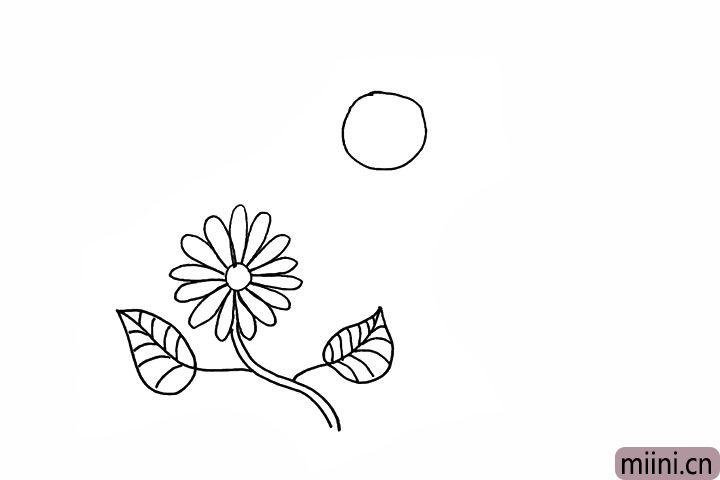 5.在上方画出一个稍大的圆是蜜蜂的头部。