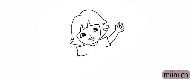 8.画出张开的一只手臂.注意手指的画法。