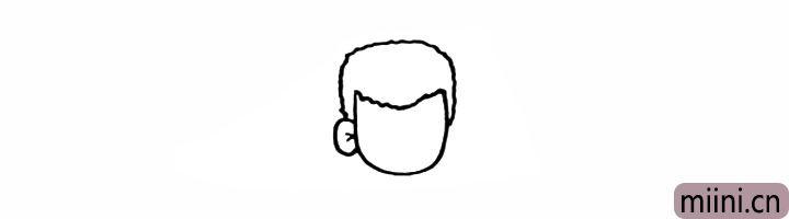 4.向上画出樱木花道的头发形状。
