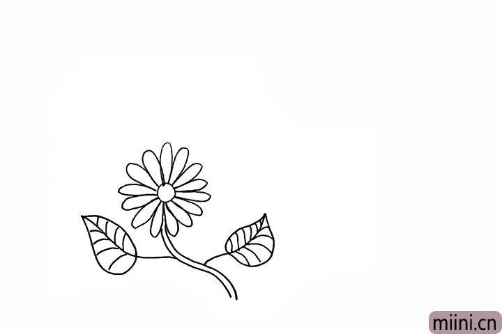 4.画出两侧的叶子以及叶子的纹理。