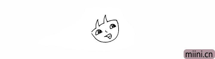 5.再画出头部开叉的刘海部分。