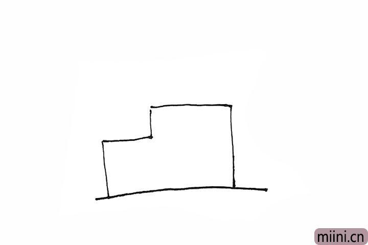 1.先画上一条横线,上面画上方形组合的工厂。
