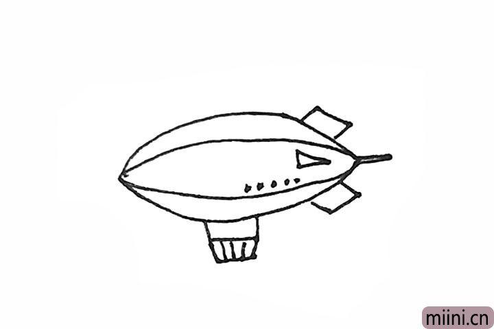5.接着用竖线连接和做装饰,飞艇上可以画上一点喜欢的图案。