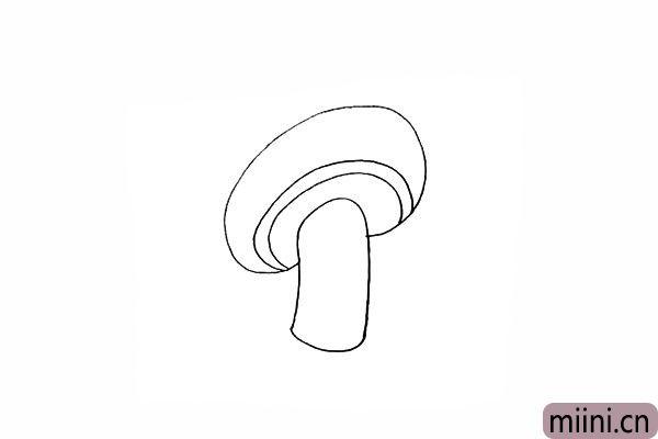 3.接着在蘑菇头的下方位置画出边缘。