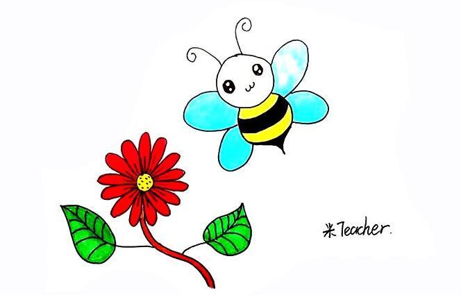 采蜜的小蜜蜂简笔画步骤