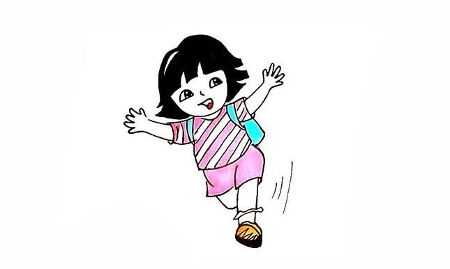 奔跑的小女孩朵拉简笔画