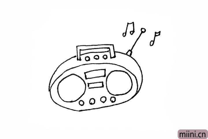 5.旁边,再画上收音机天线,以及画上一点乐符。