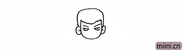6.画出他的两只眼睛和眉毛。