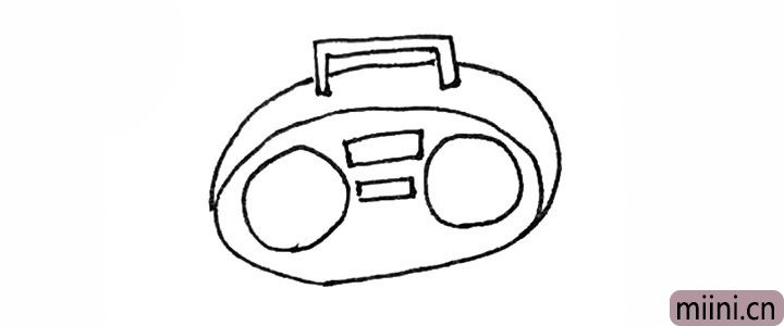 3.接着再画过来一条弧线增加厚度,以及在里面画上两个方形做装饰。