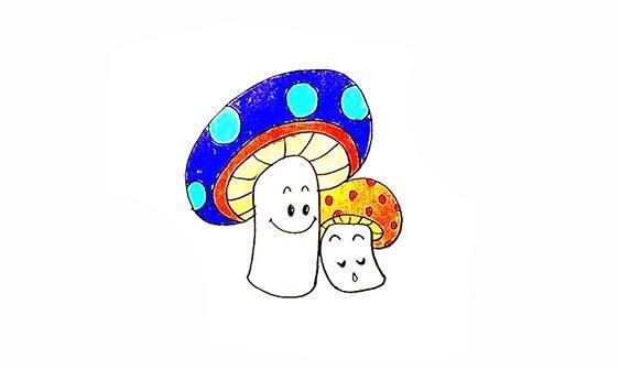 教你画出2个可爱的小蘑菇