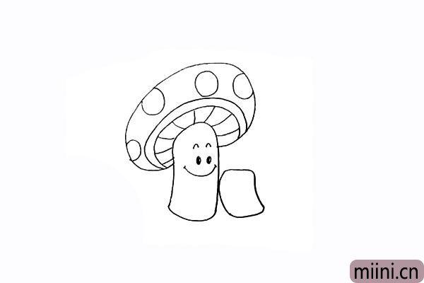 9.接着在旁边画出另一棵蘑菇。