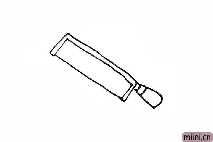 4.接着给握柄加上一点线条,并在半个块中间画上一条线。